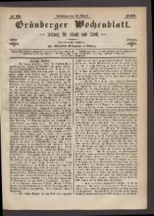 Grünberger Wochenblatt: Zeitung für Stadt und Land, No. 29. (11. April 1869)