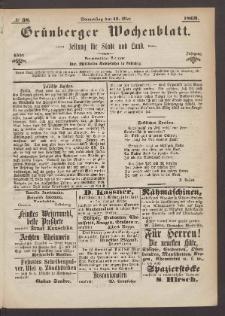 Grünberger Wochenblatt: Zeitung für Stadt und Land, No. 38. (13. Mai 1869)