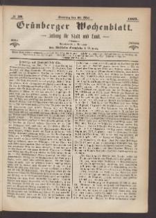 Grünberger Wochenblatt: Zeitung für Stadt und Land, No. 39. (16. Mai 1869)