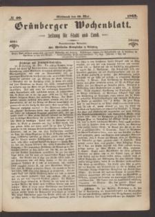 Grünberger Wochenblatt: Zeitung für Stadt und Land, No. 40. (19. Mai 1869)