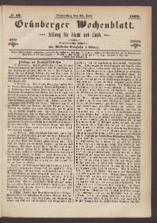 Grünberger Wochenblatt: Zeitung für Stadt und Land, No. 46. (10. Juni 1869)