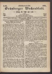 Grünberger Wochenblatt: Zeitung für Stadt und Land, No. 48. (17. Juni 1869)