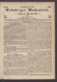 Grünberger Wochenblatt: Zeitung für Stadt und Land, No. 50. (24. Juni 1869)