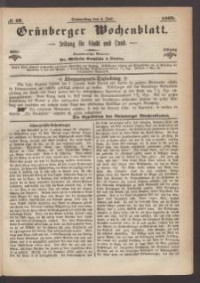 Grünberger Wochenblatt: Zeitung für Stadt und Land, No. 52. (1. Juli 1869)