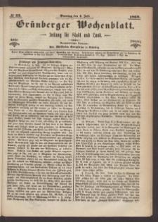 Grünberger Wochenblatt: Zeitung für Stadt und Land, No. 53. (4. Juli 1869)