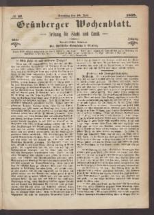 Grünberger Wochenblatt: Zeitung für Stadt und Land, No. 57. (18. Juli 1869)