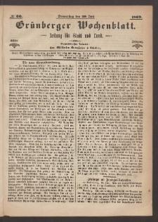 Grünberger Wochenblatt: Zeitung für Stadt und Land, No. 60. (29. Juli 1869)