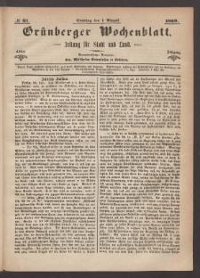 Grünberger Wochenblatt: Zeitung für Stadt und Land, No. 61. (1. August 1869)