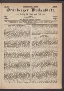 Grünberger Wochenblatt: Zeitung für Stadt und Land, No. 62. (5. August 1869)