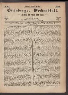 Grünberger Wochenblatt: Zeitung für Stadt und Land, No. 65. (15. August 1869)