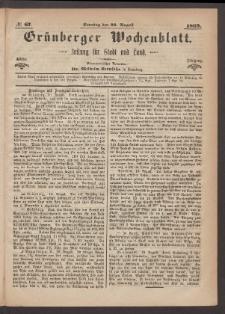 Grünberger Wochenblatt: Zeitung für Stadt und Land, No. 67. (22. August 1869)
