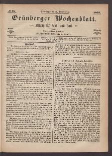Grünberger Wochenblatt: Zeitung für Stadt und Land, No. 73. (12. September 1869)