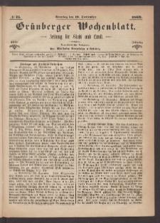 Grünberger Wochenblatt: Zeitung für Stadt und Land, No. 75. (19. September 1869)