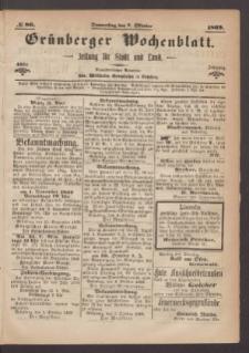 Grünberger Wochenblatt: Zeitung für Stadt und Land, No. 80. (7. Oktober 1869)