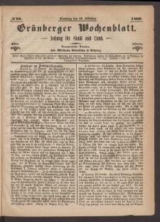 Grünberger Wochenblatt: Zeitung für Stadt und Land, No. 83. (17. Oktober 1869)