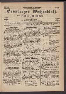 Grünberger Wochenblatt: Zeitung für Stadt und Land, No. 90. (11. November 1869)