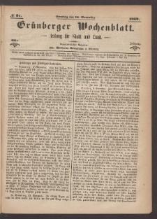 Grünberger Wochenblatt: Zeitung für Stadt und Land, No. 91. (14. November 1869)
