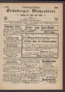 Grünberger Wochenblatt: Zeitung für Stadt und Land, No. 92. (18. November 1869)