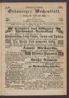 Grünberger Wochenblatt: Zeitung für Stadt und Land, No. 97. (5. Dezember 1869)