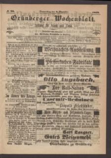 Grünberger Wochenblatt: Zeitung für Stadt und Land, No. 98. (9. Dezember 1869)