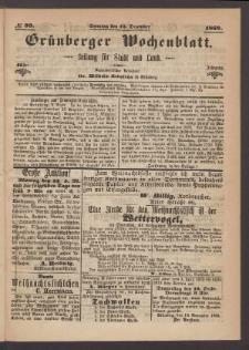 Grünberger Wochenblatt: Zeitung für Stadt und Land, No. 99. (12. Dezember 1869)