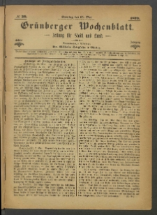 Grünberger Wochenblatt: Zeitung für Stadt und Land, No. 39. (15. Mai 1870)