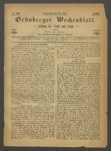 Grünberger Wochenblatt: Zeitung für Stadt und Land, No. 40. (19. Mai 1870)