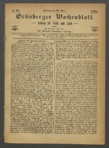 Grünberger Wochenblatt: Zeitung für Stadt und Land, No. 43. (29. Mai 1870)