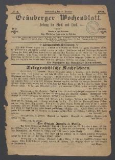 Grünberger Wochenblatt: Zeitung für Stadt und Land, No. 1. (5. Januar 1871)
