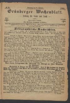 Grünberger Wochenblatt: Zeitung für Stadt und Land, No. 2. (8. Januar 1871)