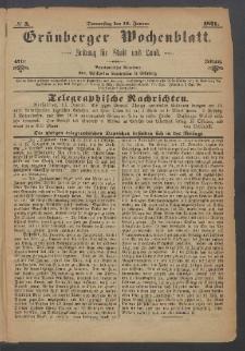 Grünberger Wochenblatt: Zeitung für Stadt und Land, No. 3. (12. Januar 1871)