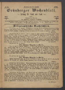 Grünberger Wochenblatt: Zeitung für Stadt und Land, No. 4. (15. Januar 1871)