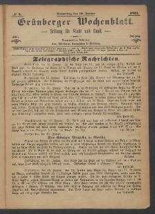 Grünberger Wochenblatt: Zeitung für Stadt und Land, No. 5. (19. Januar 1871)