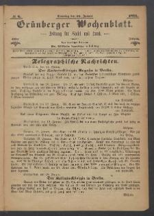 Grünberger Wochenblatt: Zeitung für Stadt und Land, No. 6. (22. Januar 1871)