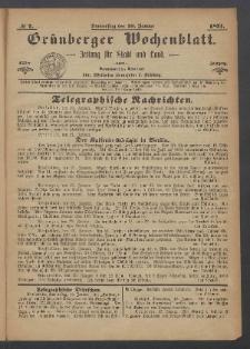 Grünberger Wochenblatt: Zeitung für Stadt und Land, No. 7. (26. Januar 1871)