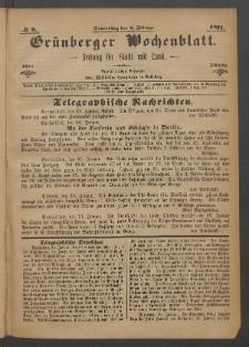 Grünberger Wochenblatt: Zeitung für Stadt und Land, No. 9. (2. Februar 1871)