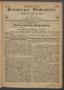 Grünberger Wochenblatt: Zeitung für Stadt und Land, No. 11. (9. Februar 1871)