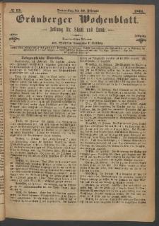 Grünberger Wochenblatt: Zeitung für Stadt und Land, No. 13. (16. Februar 1871)