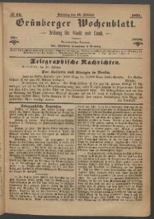Grünberger Wochenblatt: Zeitung für Stadt und Land, No. 14. (19. Februar 1871)