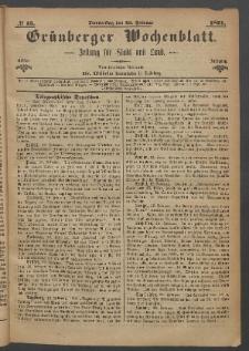 Grünberger Wochenblatt: Zeitung für Stadt und Land, No. 15. (23. Februar 1871)