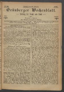 Grünberger Wochenblatt: Zeitung für Stadt und Land, No. 16. (26. Februar 1871)