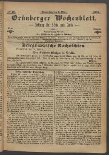Grünberger Wochenblatt: Zeitung für Stadt und Land, No. 17. (2. März 1871)