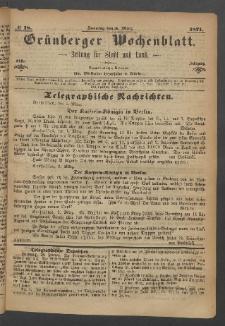 Grünberger Wochenblatt: Zeitung für Stadt und Land, No. 18. (5. März 1871)