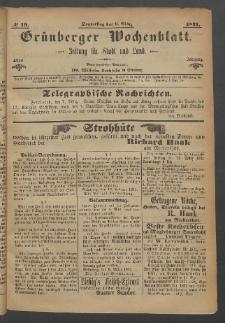 Grünberger Wochenblatt: Zeitung für Stadt und Land, No. 19. (9. März 1871)
