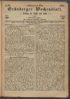 Grünberger Wochenblatt: Zeitung für Stadt und Land, No. 22. (19. März 1871)