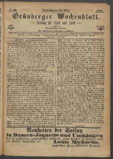 Grünberger Wochenblatt: Zeitung für Stadt und Land, No. 23. (23. März 1871)