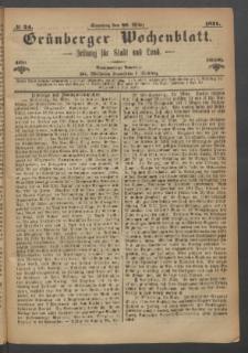 Grünberger Wochenblatt: Zeitung für Stadt und Land, No. 24. (26. März 1871)