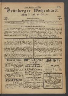 Grünberger Wochenblatt: Zeitung für Stadt und Land, No. 25. (30. März 1871)