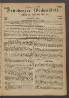 Grünberger Wochenblatt: Zeitung für Stadt und Land, No. 26. (2. April 1871)