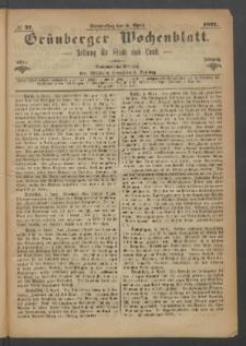 Grünberger Wochenblatt: Zeitung für Stadt und Land, No. 27. (6. April 1871)